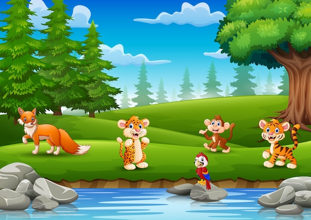The little animals are enjoying nature by the river Premium Vector