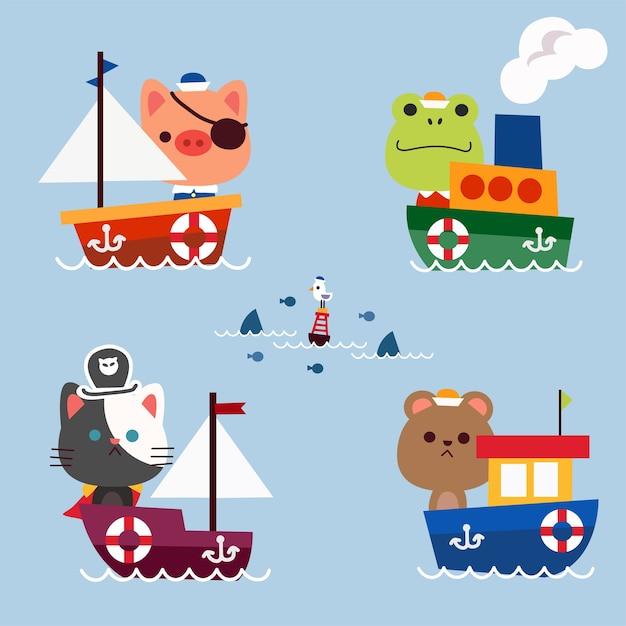 小動物が冒険に出かける海の旅のコンセプトキャラクターイラストアセットコレクション Premiumベクター