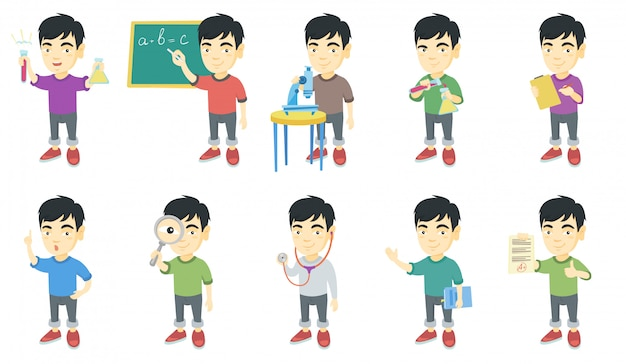 Little asian boy character set Premium Vector
