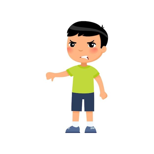 親指を下に向けるジェスチャーを示す小さなアジアの少年。一人で立っている動揺した子供。人の否定的な感情、意見の相違の表現 無料ベクター