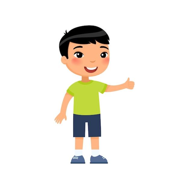 親指を立てるジェスチャーを示す小さなアジアの少年。幸せなかわいい子供。笑顔の幼児、プレティーンの子供の漫画のキャラクター 無料ベクター