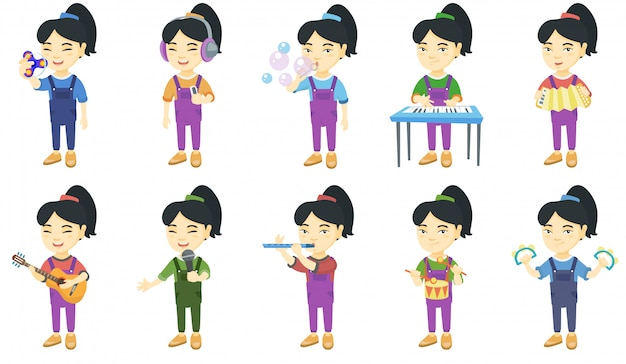 Little asian girl character set Premium Vector