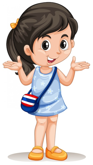 Little asian girl with handbag Free Vector