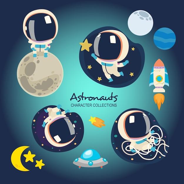 Little astronauts Premium Vector
