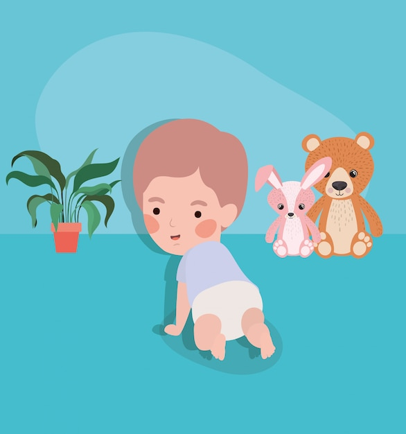 Little baby boy crawling character Free Vector