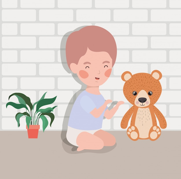 Little baby boy with bear teddy Free Vector