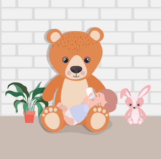 Little baby boy with stuffed toys character Free Vector