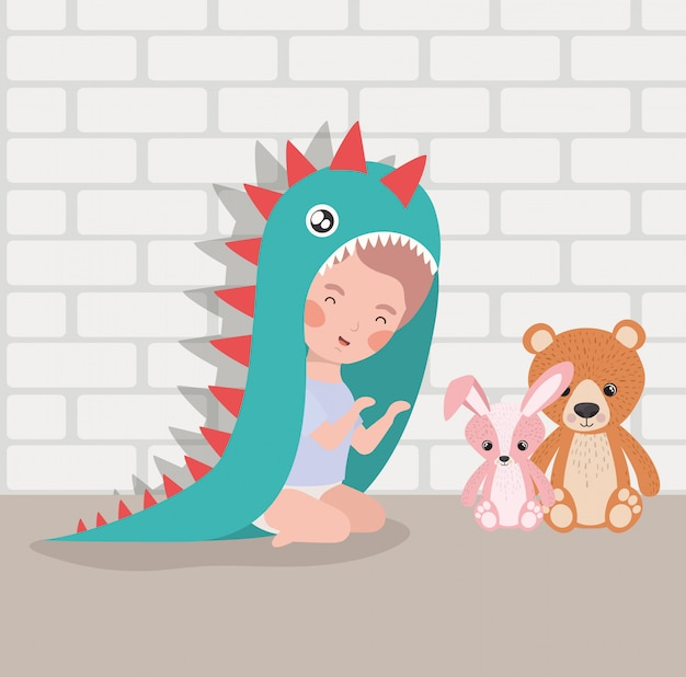 Little baby boy with stuffed toys and costume Free Vector