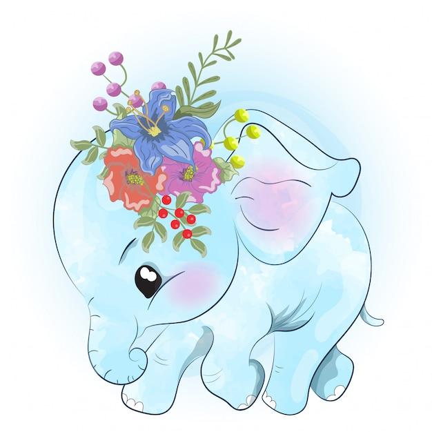 Маленький слоненок бежит Premium векторы