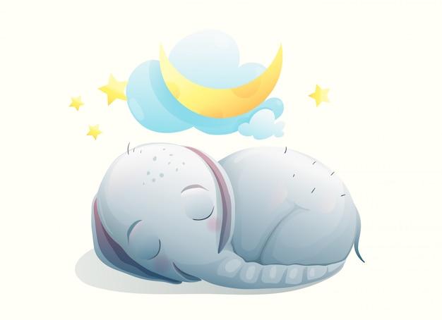 目を閉じて眠っている小さな象の赤ちゃん、夢の中で幸せな笑顔。夢を見ている月の甘い動物の子。 Premiumベクター