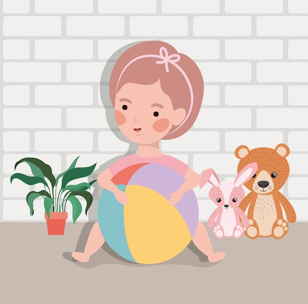 Little baby girl with balloon plastic and stuffed toys Free Vector