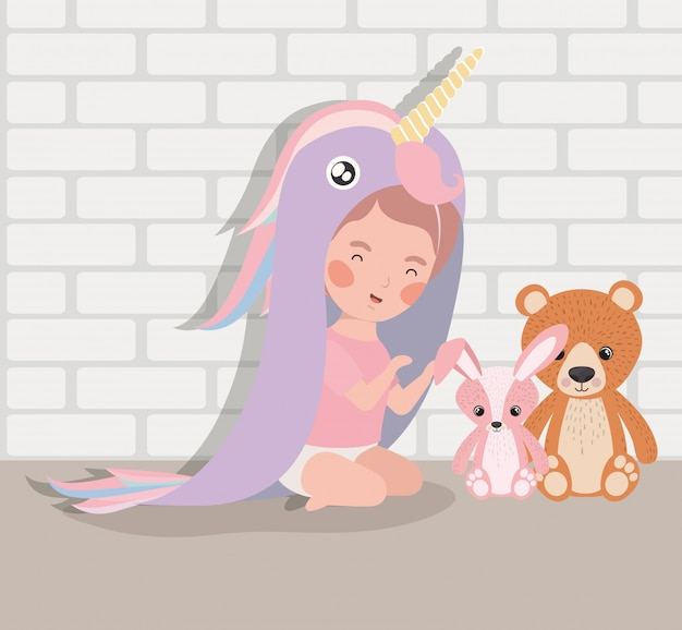 Little baby girl with stuffed toys and costume Free Vector