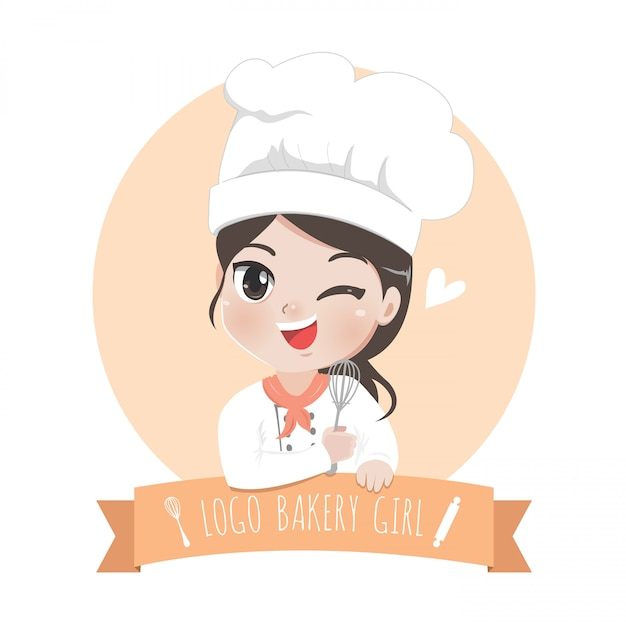 The little bakery girl chef's logo is happy, tasty and sweet smile, Premium Vector