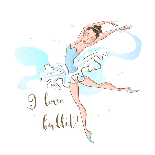 Little ballerina. ballet. dancing. i love ballet . inscription. Premium Vector