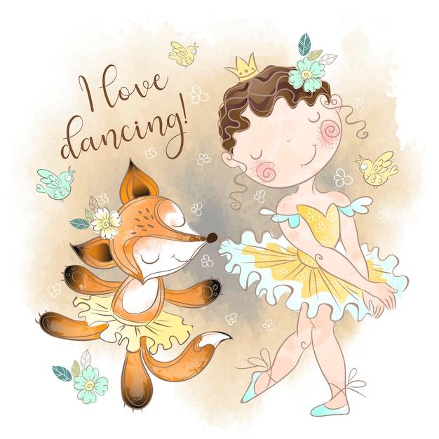 Little ballerina dancing with a fox ballerina. i love dancing. Premium Vector