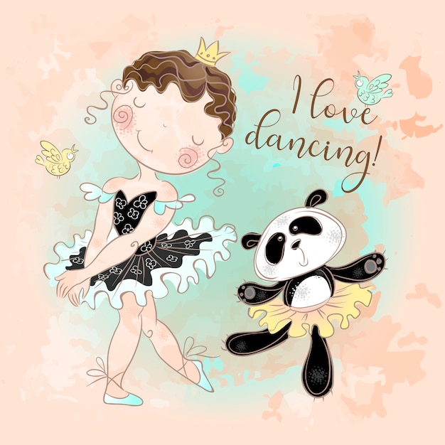 Little ballerina dancing with panda ballerina. i love dancing. Premium Vector