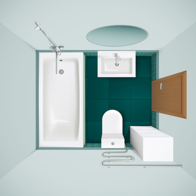 Little bathroom with green floor tiles bathtub toilet Free Vector