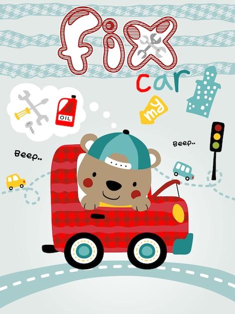 Little bear cartoon on red car Premium Vector