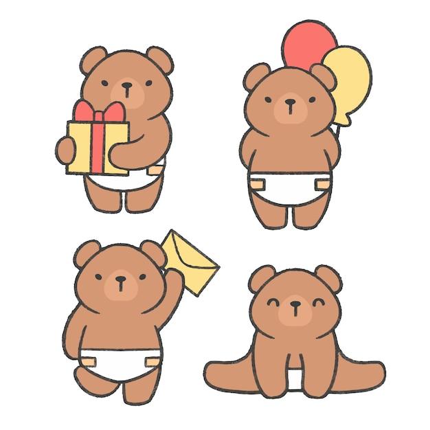 Little bear hand drawn cartoon collection Premium Vector