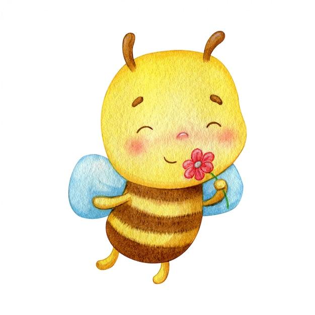 小さな蜂のキャラクターは赤い花の匂いがします 幸せなかわいい昆虫水彩イラスト プレミアムベクター
