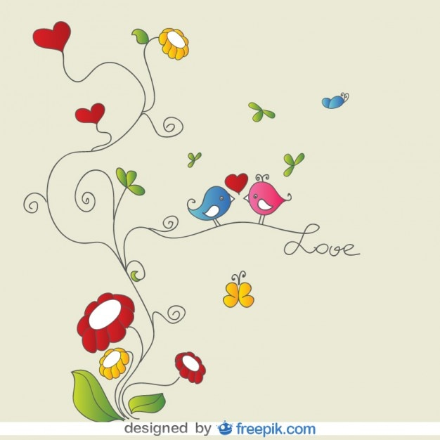 Little birds kissing in a branch Free Vector