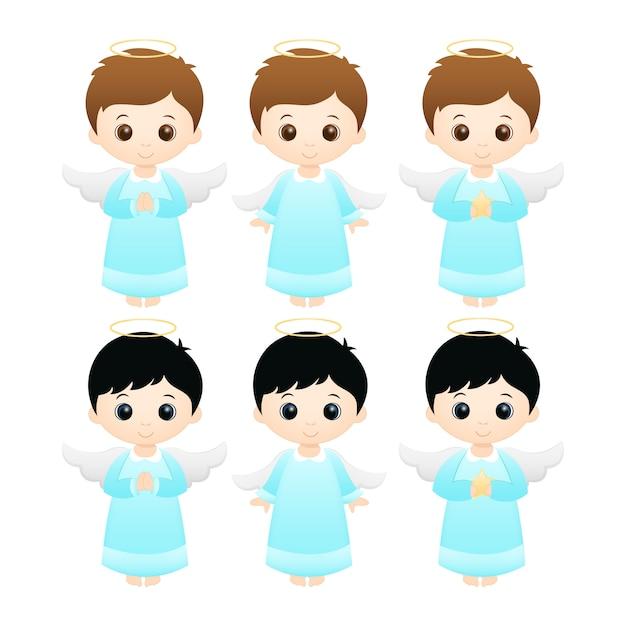Little boy angels Premium Vector