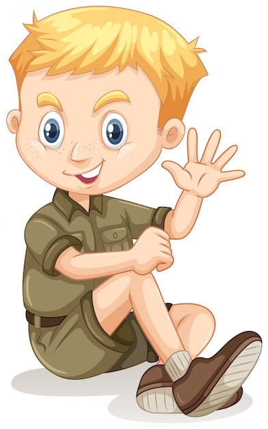Little boy in camping outfit waving Free Vector