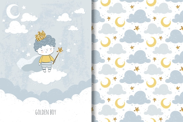 Little boy  card and seamless pattern for kids Premium Vector
