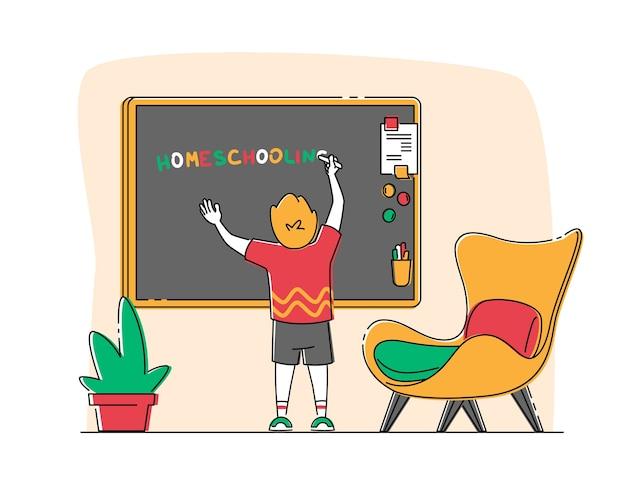 Маленький мальчик персонаж писать слово homeschooling на доске в классе. Premium векторы