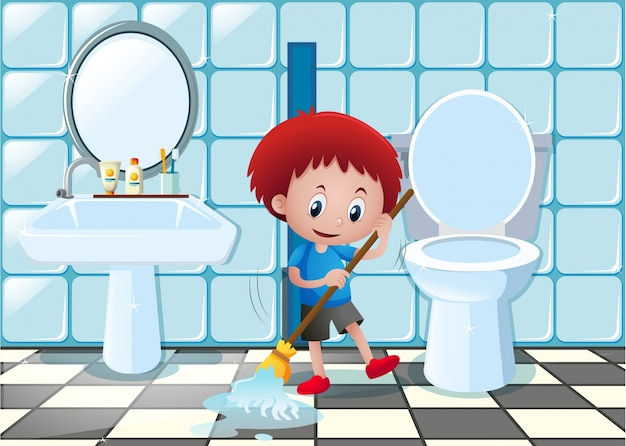 Little Boy Cleaning Bathroom Floor Premium Vector