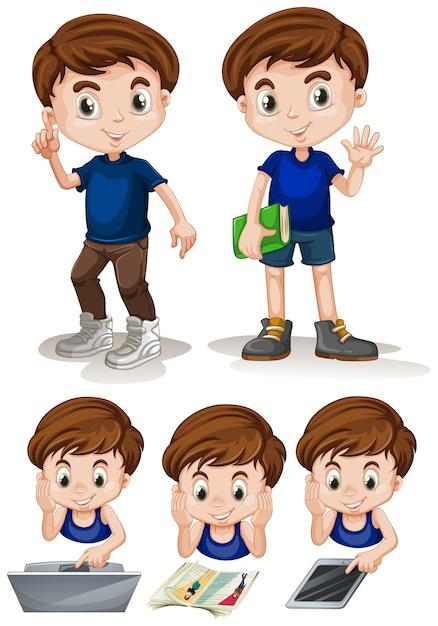 Little boy doing different activities illustration Free Vector