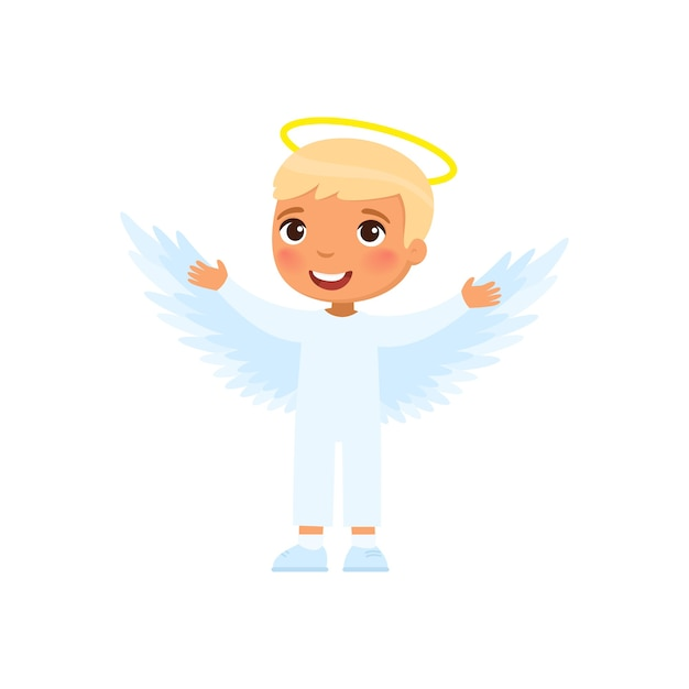 Little boy dressed like angel illustration Free Vector