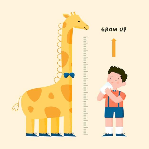 Маленький мальчик пьет молоко и измеряет рост с помощью диаграммы роста жирафа Premium векторы