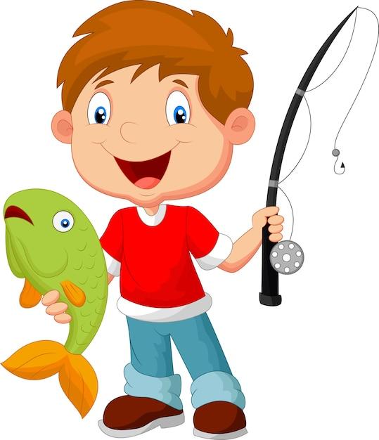 Little boy fishing Premium Vector