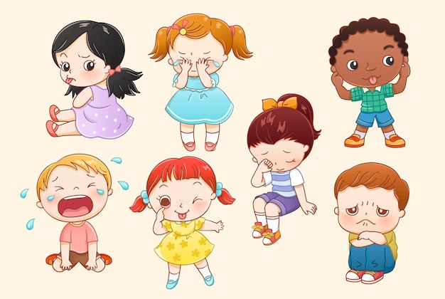 Little boy and girl characters collection in line style Premium Vector