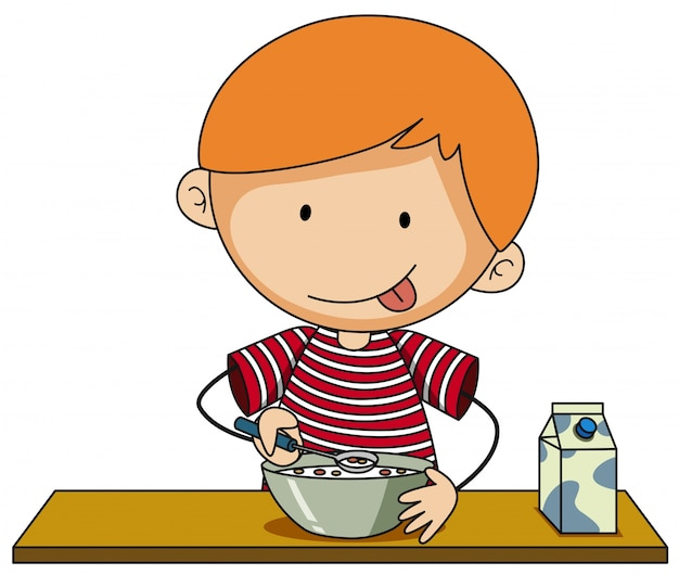 Little boy having cereal with milk Vector | Free Download