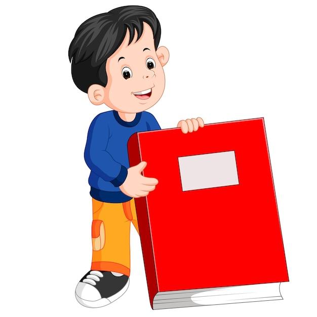 A little boy holding a big red book Premium Vector