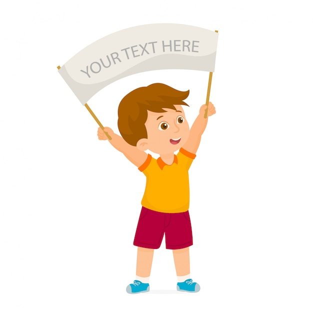 Little boy holding a empty sign Premium Vector