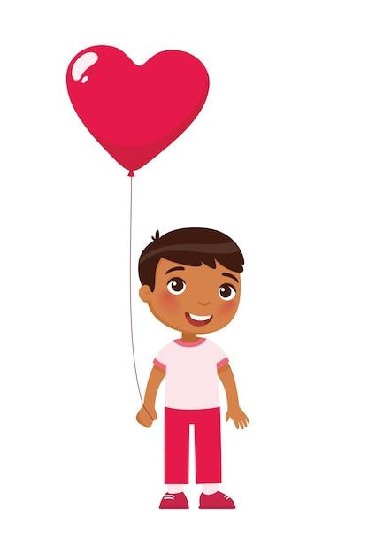 Маленький мальчик держит воздушный шар в форме сердца. празднование дня святого валентина. 14 февраля праздник Бесплатные векторы