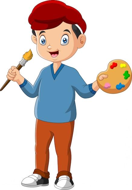 Little boy is holding paintbrush Premium Vector