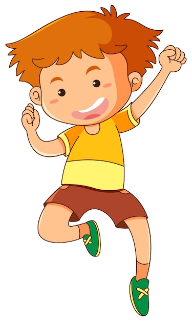 Little boy jumping up Free Vector
