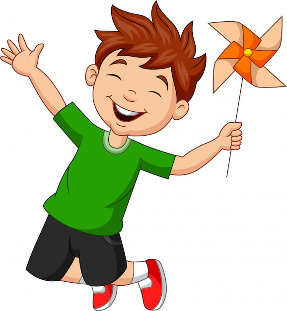 Little boy jumping with a paper windmill Premium Vector