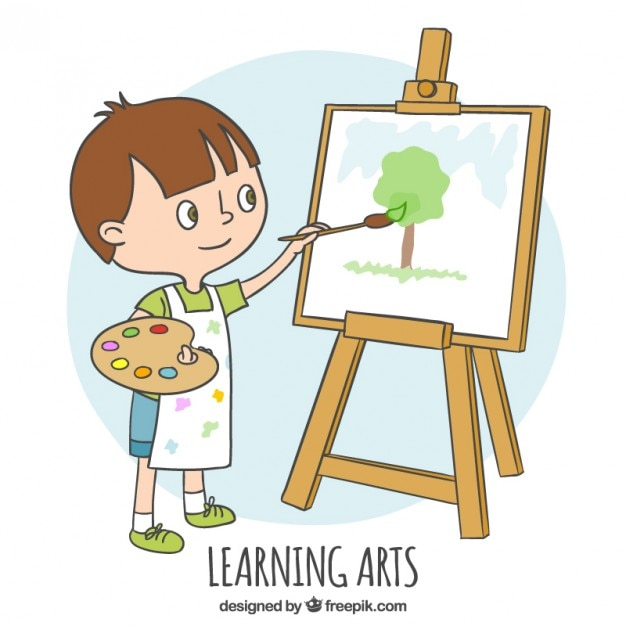 Little Boy Learning How To Paint Vector Free Download