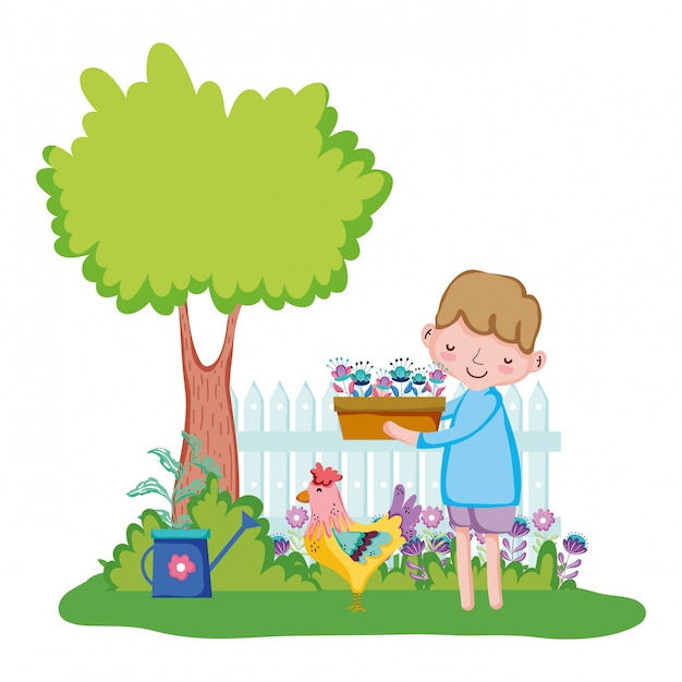 Little boy lifting houseplant with fence and rooster Premium Vector