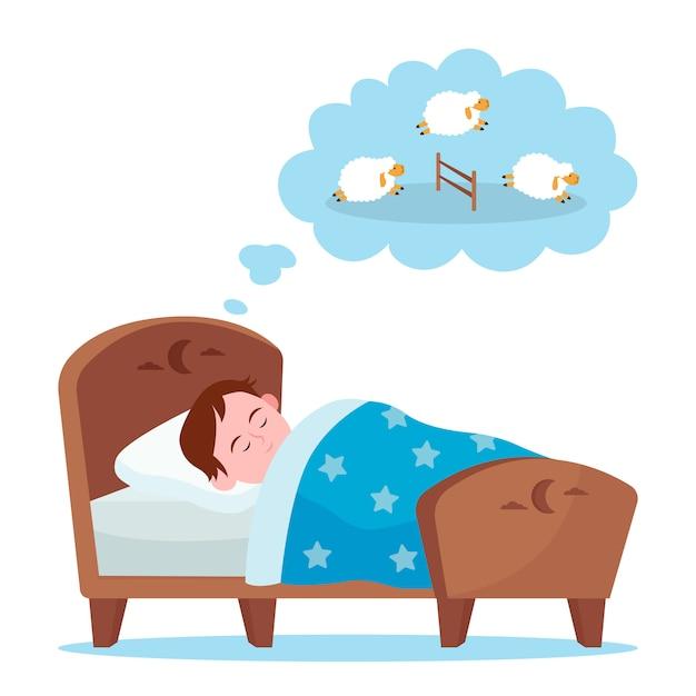 ベッドで横になっていると羊を数える小さな男の子 無料ベクター