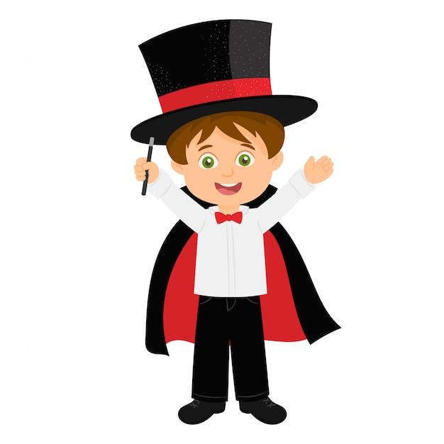 A little boy magician performance Premium Vector