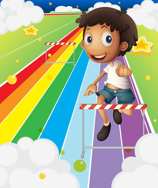 A little boy near the stripe hurdle Free Vector