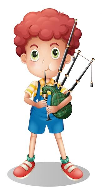 Little boy playing scottish bagpipe Premium Vector