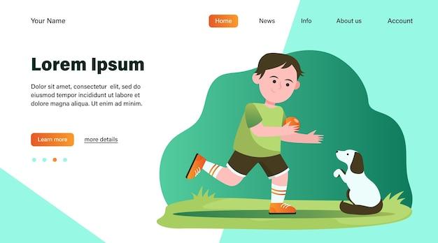 犬と遊ぶ少年。生徒、子犬、ボールフラットベクトルイラスト。動物と子供の頃のコンセプトのウェブサイトのデザインや着陸のウェブページ 無料ベクター