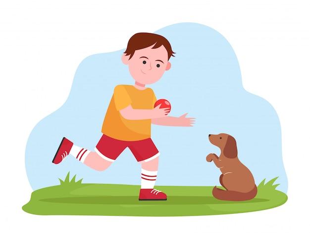 Ragazzino che gioca con il cane Vettore gratuito